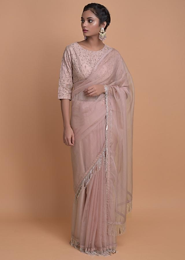 Dusty Rose Pink Saree In Organza With Cut Dana Fringes On The Border Online - Kalki Fashion