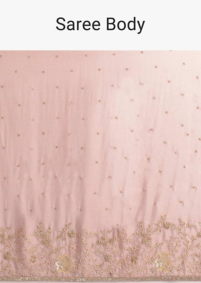 Dusty Rose Pink Saree In Shimmer Chiffon With Floral Embroidery Online - Kalki Fashion