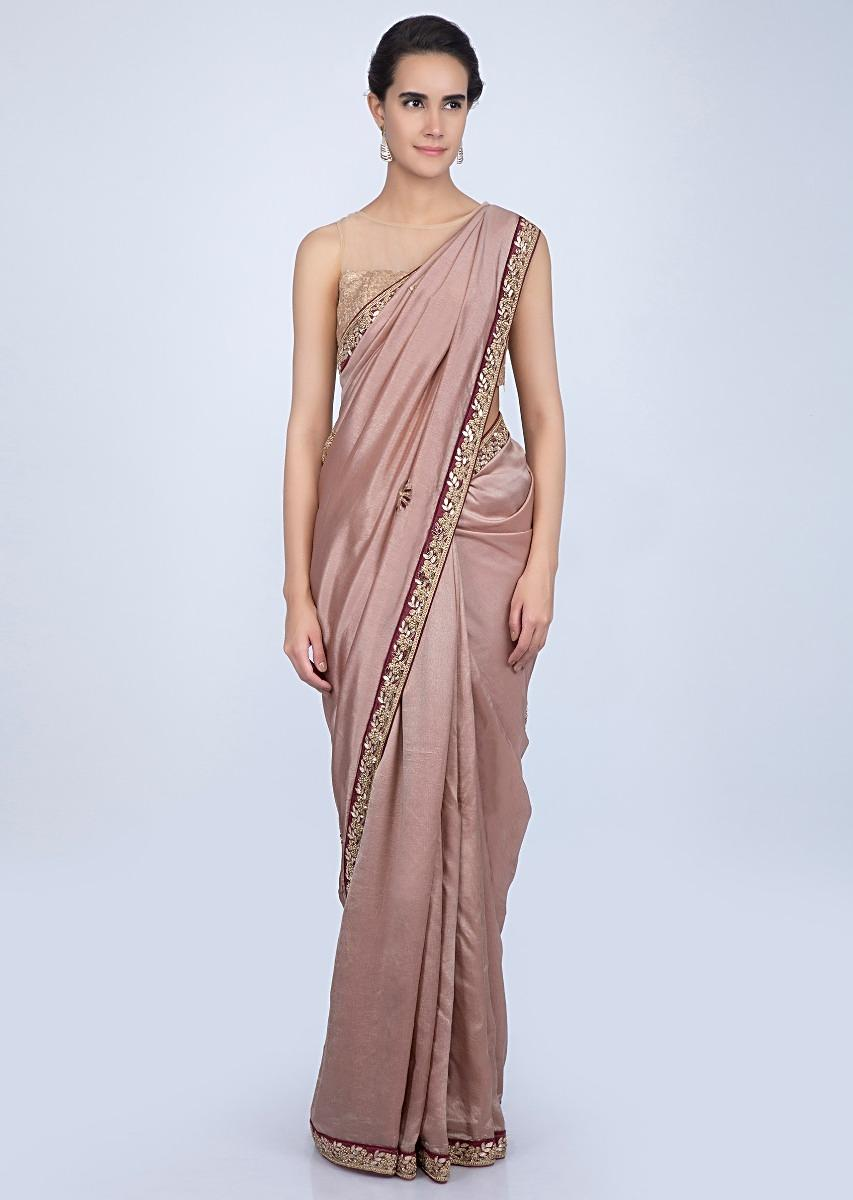 cf3b6fa85b361f Dusty rose pink tussar silk saree with embroidered butti and border only on  Kalki