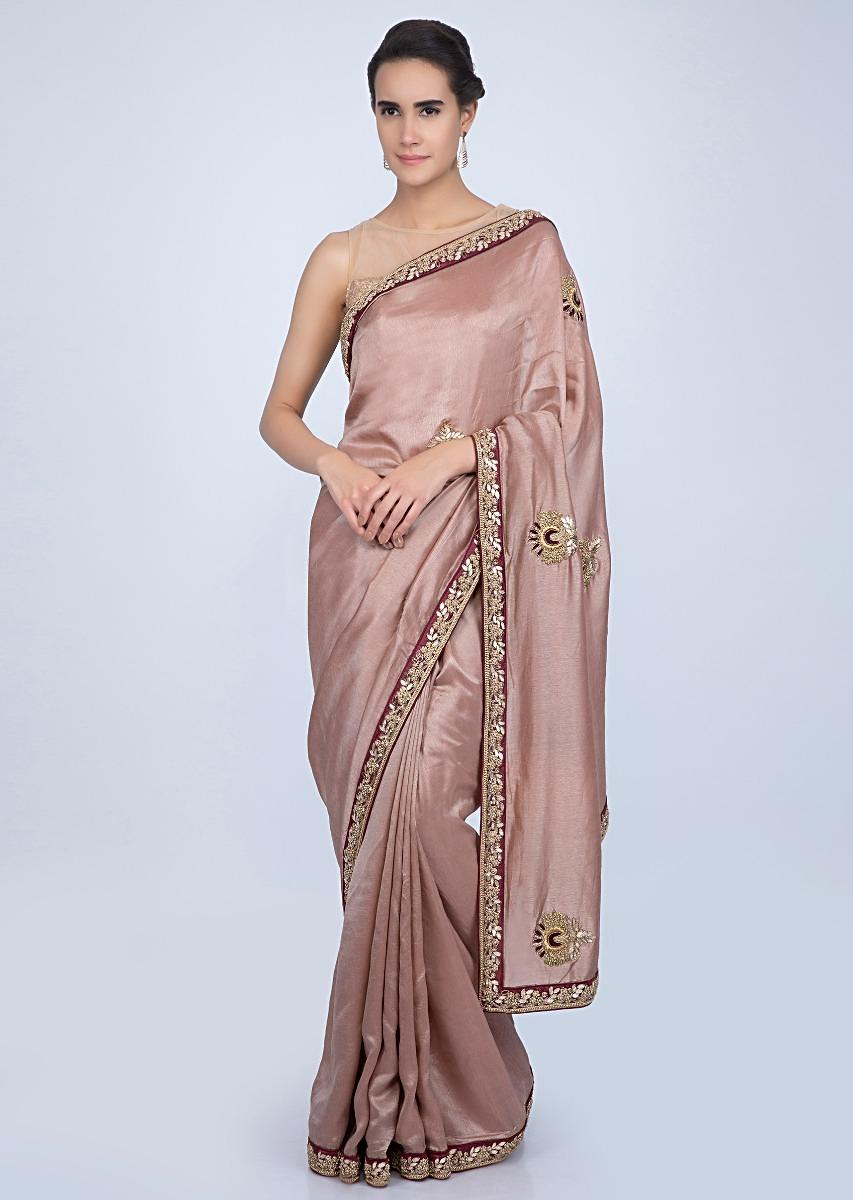 52494836fe7ff0 Dusty rose pink tussar silk saree with embroidered butti and border only on  KalkiMore Detail