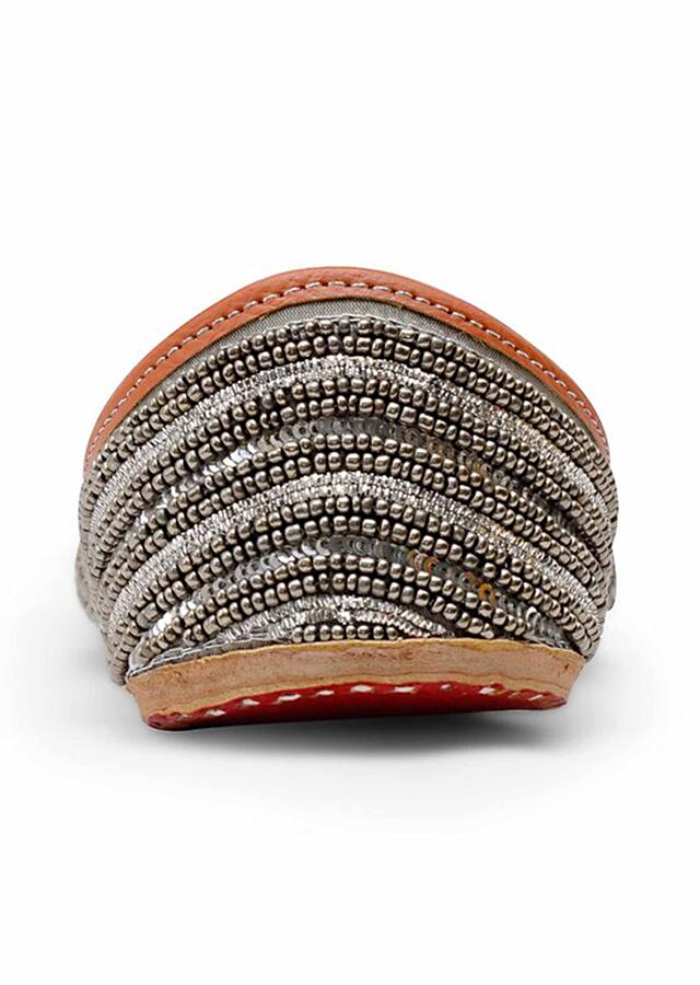 Dusty Silver Juttis With Silver Beads And Dabka All Over In Striped Pattern By Pastels And Pop