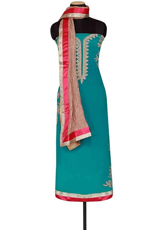 Dynasty green satin un-stitched salwar-kameez embellished in zari only on Kalki