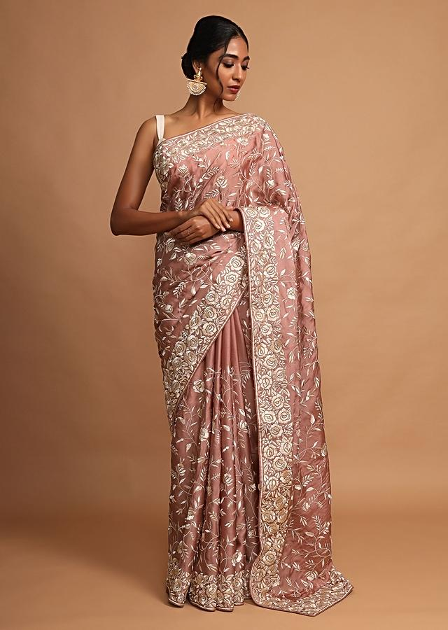 Earthy Pink Saree In Satin Silk With Resham Embroidered Floral Jaal Online - Kalki Fashion