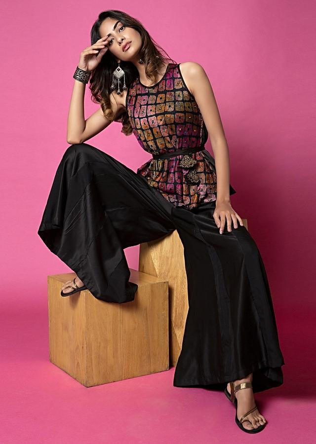 Ebony Black Belted Top With Water Color Effect Bandhani Paired With Paneled Sharara Pants And Jacket Online - Kalki Fashion