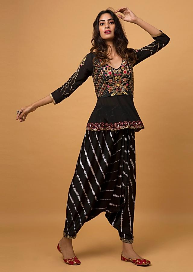 Ebony Black Dhoti And Peplum Top With Hand Embroidery And Lehariya Print Online - Kalki Fashion