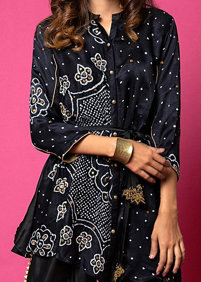 Ebony Black Shirt And Palazzo Set With Mandala Bandhani Print And Hand Embroidered Using Antique Sequins And Beads Online - Kalki Fashion