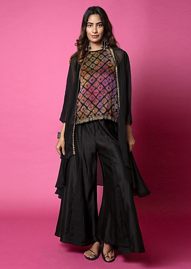 Ebony Black Top With Water Color Effect Bandhani Paired With Paneled Sharara Pants And Jacket Online - Kalki Fashion