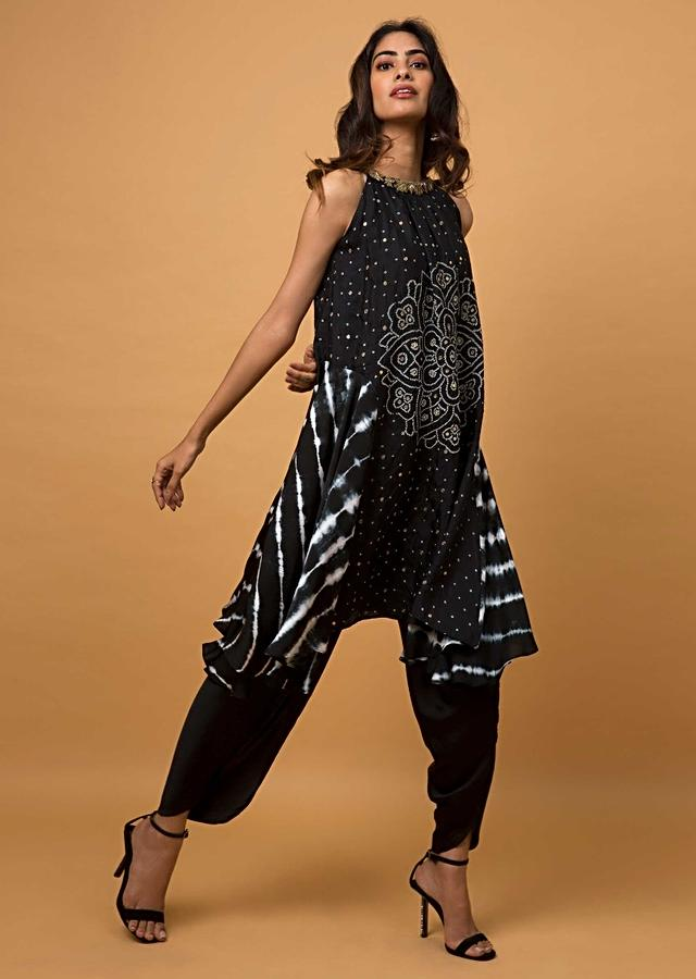 Ebony Dhoti Suit In Satin Silk With Bandhani And Lehariya Print Online - Kalki Fashion