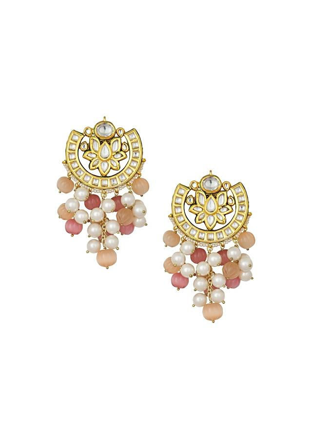 Eccentric Kundan Polki Earrings In Crescent Lotus Design With Shell Pearls And Vibrant Carved Quartz Online - Joules By Radhika