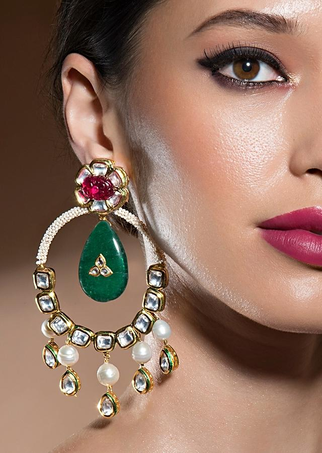 Edgy Kundan Polki Earrings With Baroque Pearls, Green Onyx And Carved Hydro Rubies Online - Joules By Radhika