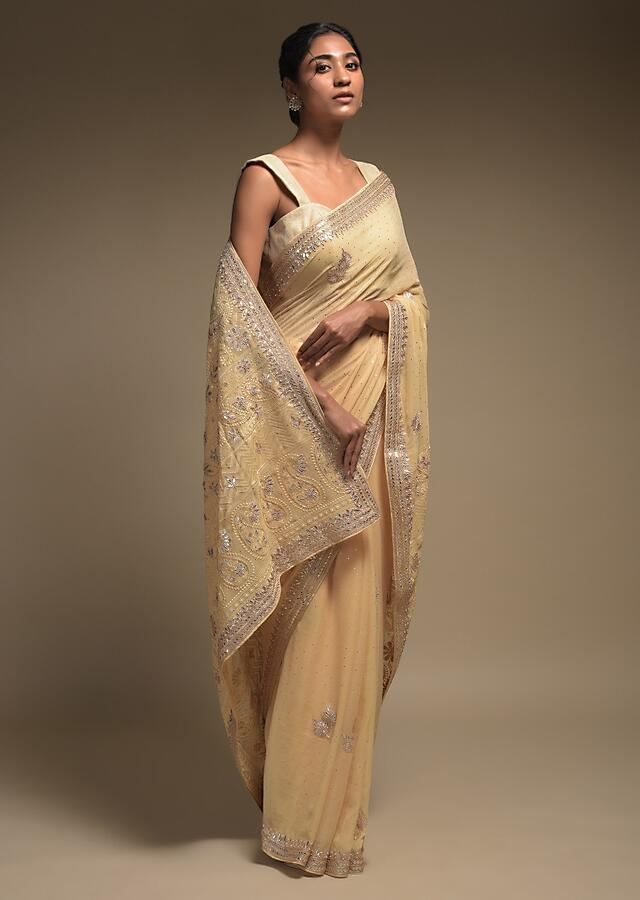 Egg Nog Beige Saree In Georgette With Lucknowi Thread Embroidered Paisley Pattern On The Pallu Online - Kalki Fashion