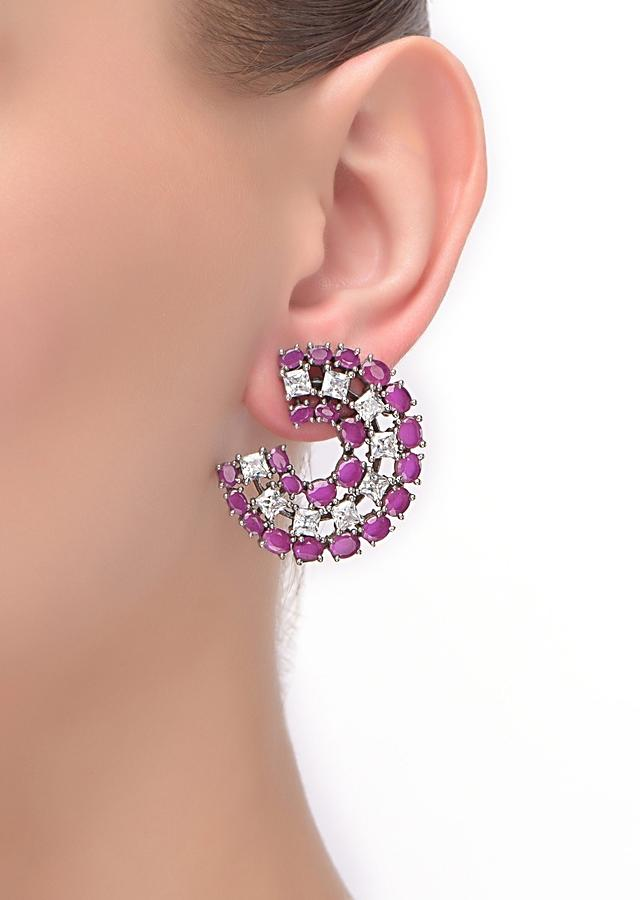 Eggplant Purple Crescent Stud Earrings Embellished With Stones And Crystals Online - Kalki Fashion