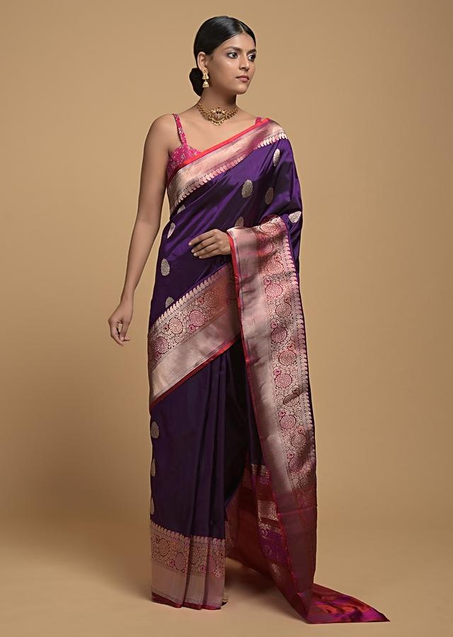Eggplant Purple Pure Handloom Saree In Silk With Woven Floral Buttis And Red Woven Border Online - Kalki Fashion