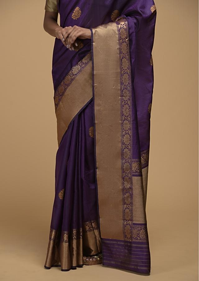Eggplant Purple Pure Handloom Saree In Tussar Silk With Woven Floral Buttis Online - Kalki Fashion