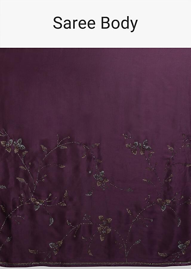 Raisin Purple Saree In Satin With Kundan In Leaves And Floral Motifs Online - Kalki Fashion