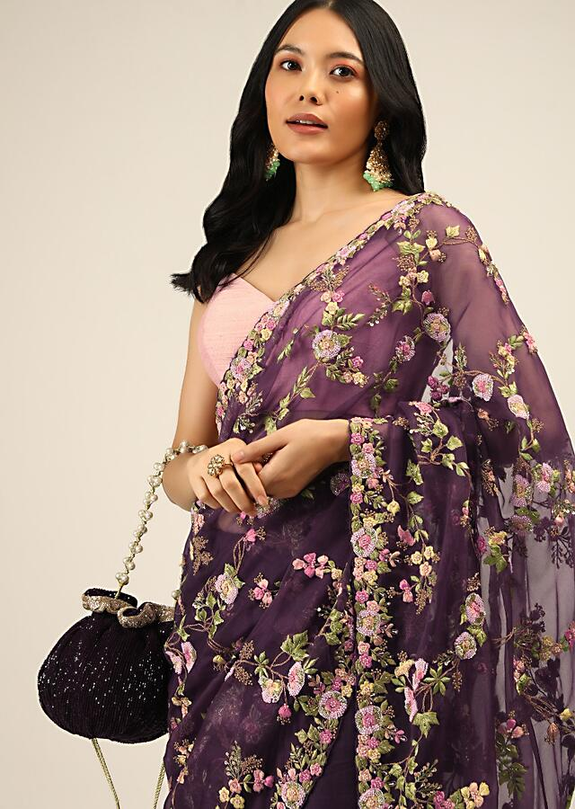 Eggplant Purple Saree In Organza With Multi Color Resham Embroidered Floral Motifs Along With Moti And Cut Dana Accents Online - Kalki Fashion