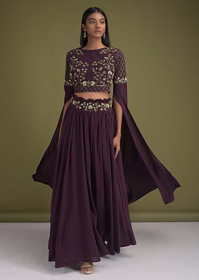 Eggplant Purple Skirt And Crop Top In Crepe With Frill And Extended Floor Length Sleeves Online - Kalki Fashion