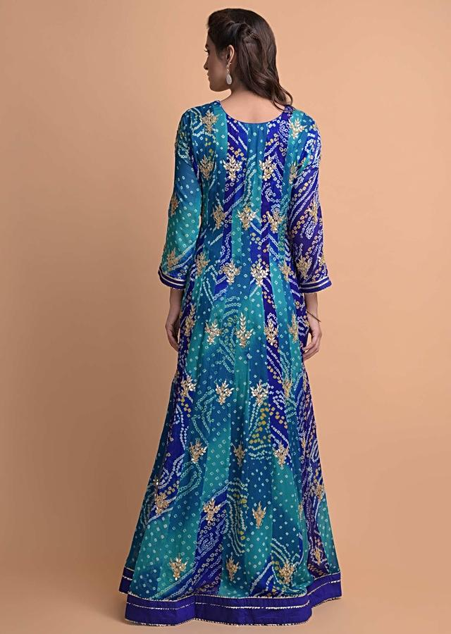 Egyptian Blue And Sapphire Blue Anarkali Suit In Georgette With Bandhani Print And Gotta Work Online - Kalki Fashion