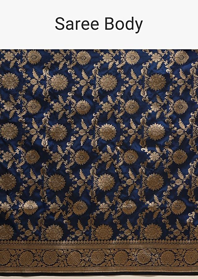 Egyptian Blue Banarasi Saree In Pure Handloom Silk With Woven Floral Jaal And Floral Border Along With Unstitched Blouse Piece Online - Kalki Fashion