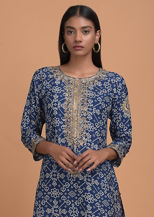 Egyptian Blue Long Kurti In Santoon With Bandhani Print All Over Online - Kalki Fashion