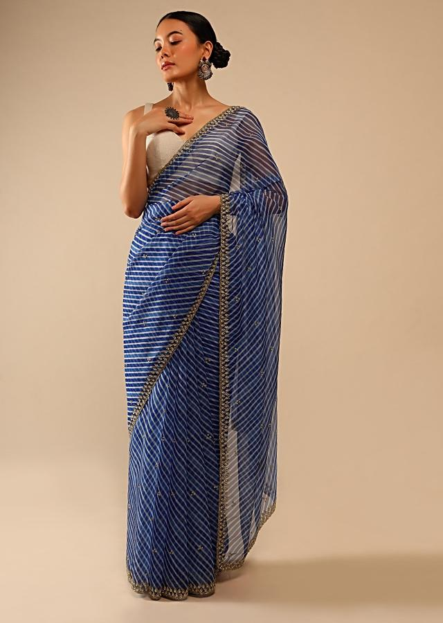 Egyptian Blue Saree In Organza With Lehariya Print And Hand Embroidered Border With Beads And Sequins Work Online - Kalki Fashion