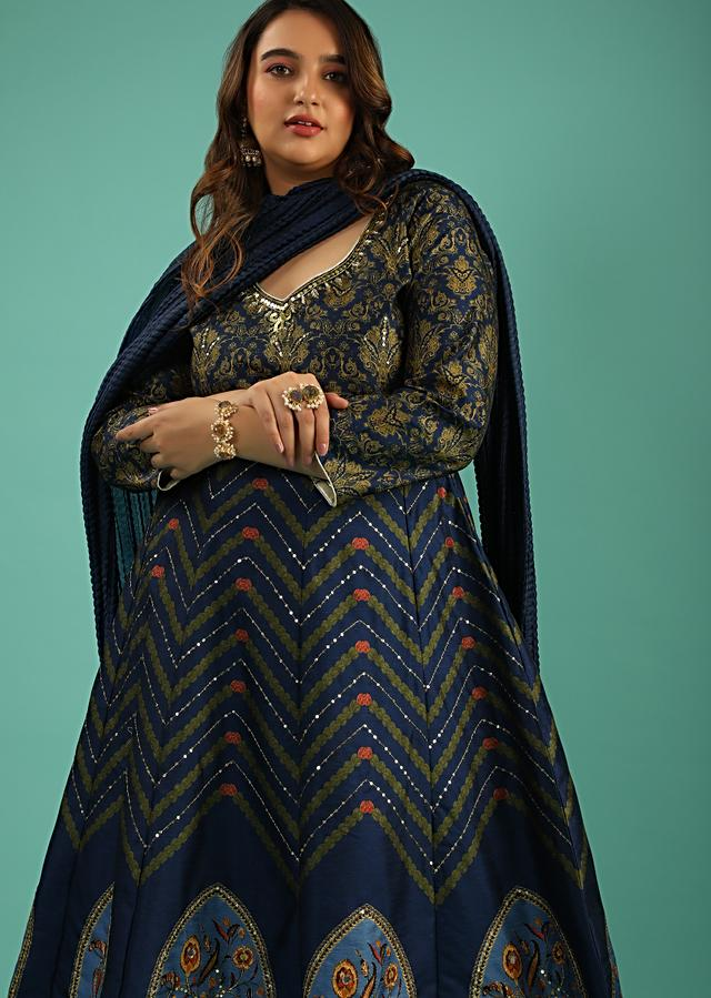 Egyptian Blue Anarkali Suit In Raw Silk With Chevron And Floral Heritage Print Online - Kalki Fashion