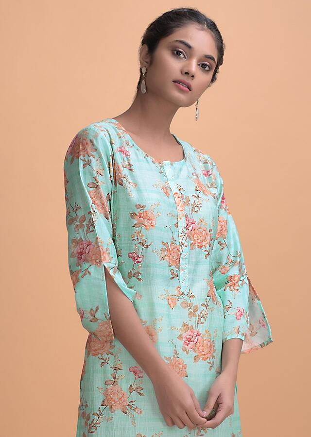 Electric Blue Kurti In Cotton With Floral Print, Sequins And Gotta Lace Online - Kalki Fashion