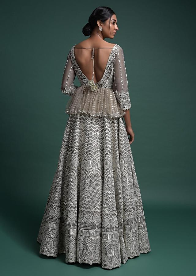 Elephant Grey Lehenga And Peplum Top With Mughal Embroidery Online - Kalki Fashion