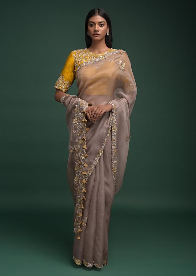 Elephant Grey Saree In Organza Silk With Thread, Mirror And 3D Flowers On The Border Online - Kalki Fashion