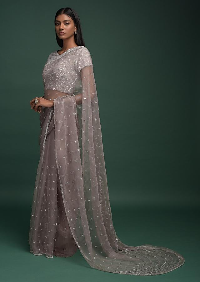 Elephant Grey Saree In Organza With Sequins And Beas Embellished Buttis And Curved Pallu Online - Kalki Fashion