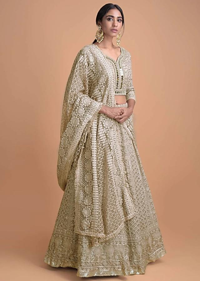 Brown beige Lehenga Choli With Lucknowi Work In Geometric And Floral Pattern Online - Kalki Fashion