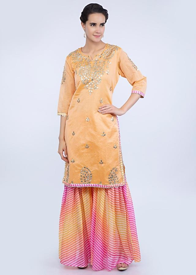 Embroidered Peach Suit With Tie And Dye Multi Color Sharara And Dupatta Online - Kalki Fashion
