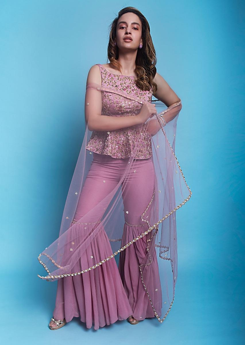 7ed6d20b31 Embroidered pink peplum top with matching sharara and net dupatta only on  KalkiMore Detail