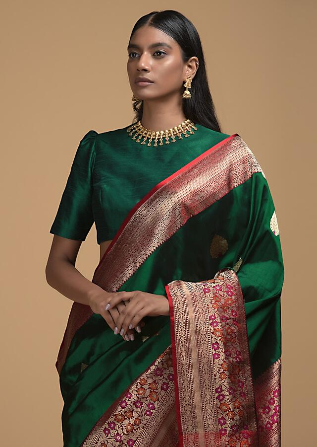 Emeral Green Pure Handloom Saree In Silk With Woven Leaf Shaped Buttis And Red Border Online - Kalki Fashion
