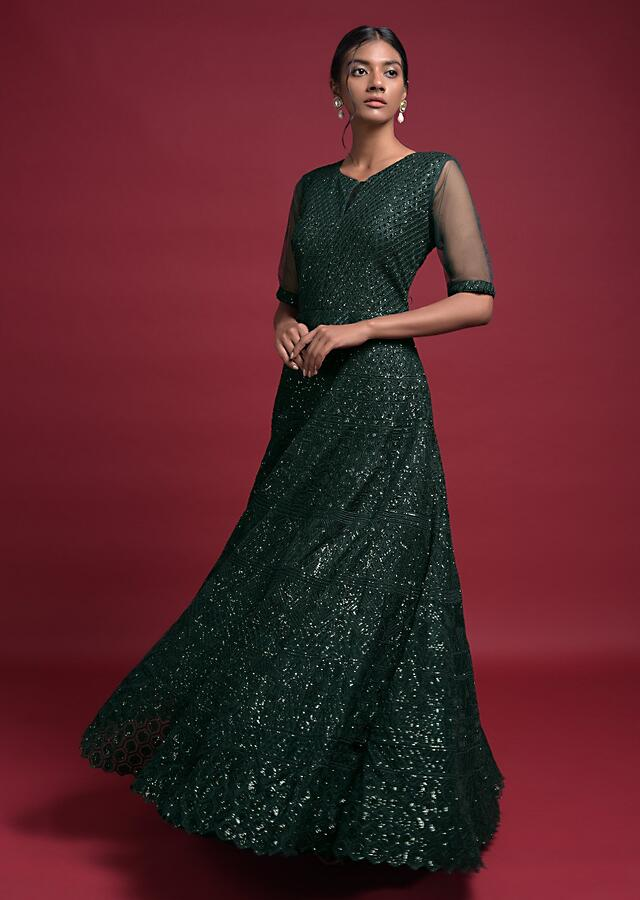 Emerald Green Anarkali Suit In Net With Thread And Sequins Embroidered Geometric Pattern Online - Kalki Fashion