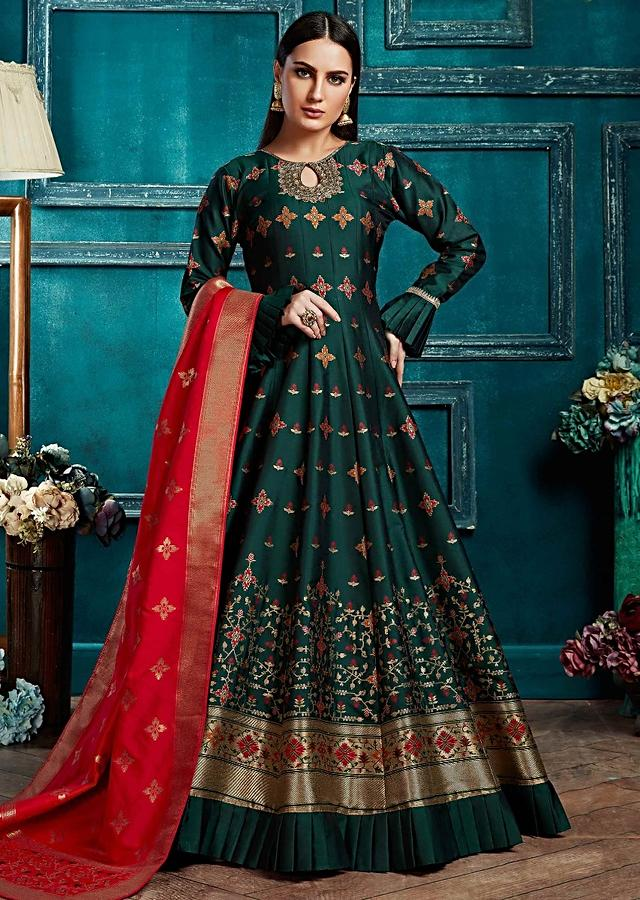 Emerald Green Anarkali Suit With Weaved Floral Buttis And Coral Banarasi Dupatta Online - Kalki Fashion