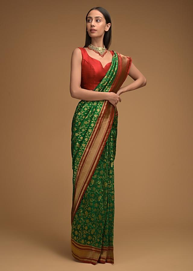 Emerald Green Banarasi Saree In Silk With Brocade Woven Floral Jaal And Contrasting Red Brocade Border Along With Unstitched Blouse Online - Kalki Fashion