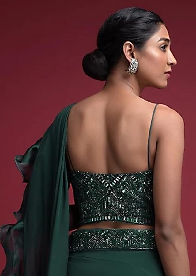 Emerald Green Corset Blouse With Hand Embellished Cut Dana And Sequins Accents And Spaghetti Straps  Online - Kalki Fashion