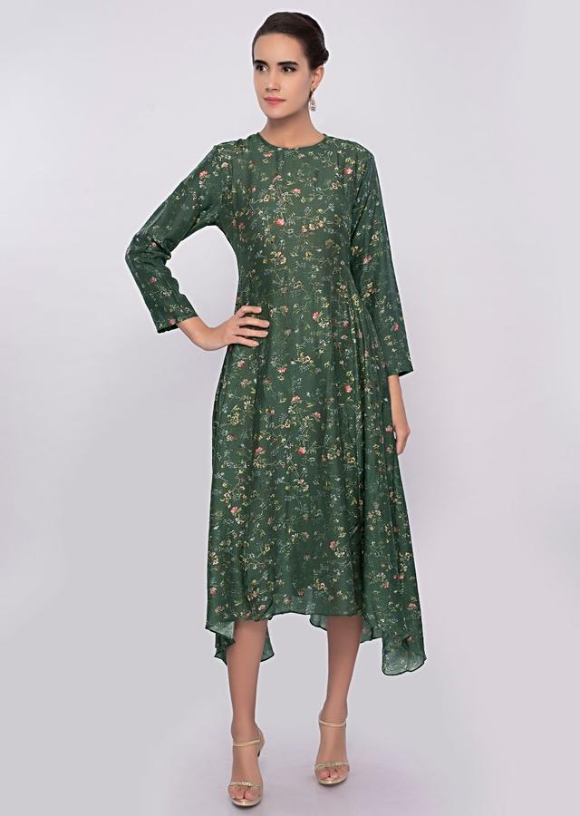 Emerald Green Asymmetric Kurti In Cotton Silk With Mint Green Embroidered Jacket Online - Kalki Fashion
