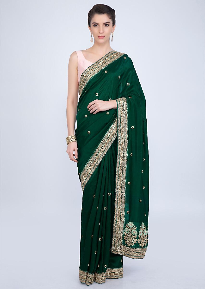 1028df7072 Emerald green crepe silk saree with embroidered butti and border only on  kalki