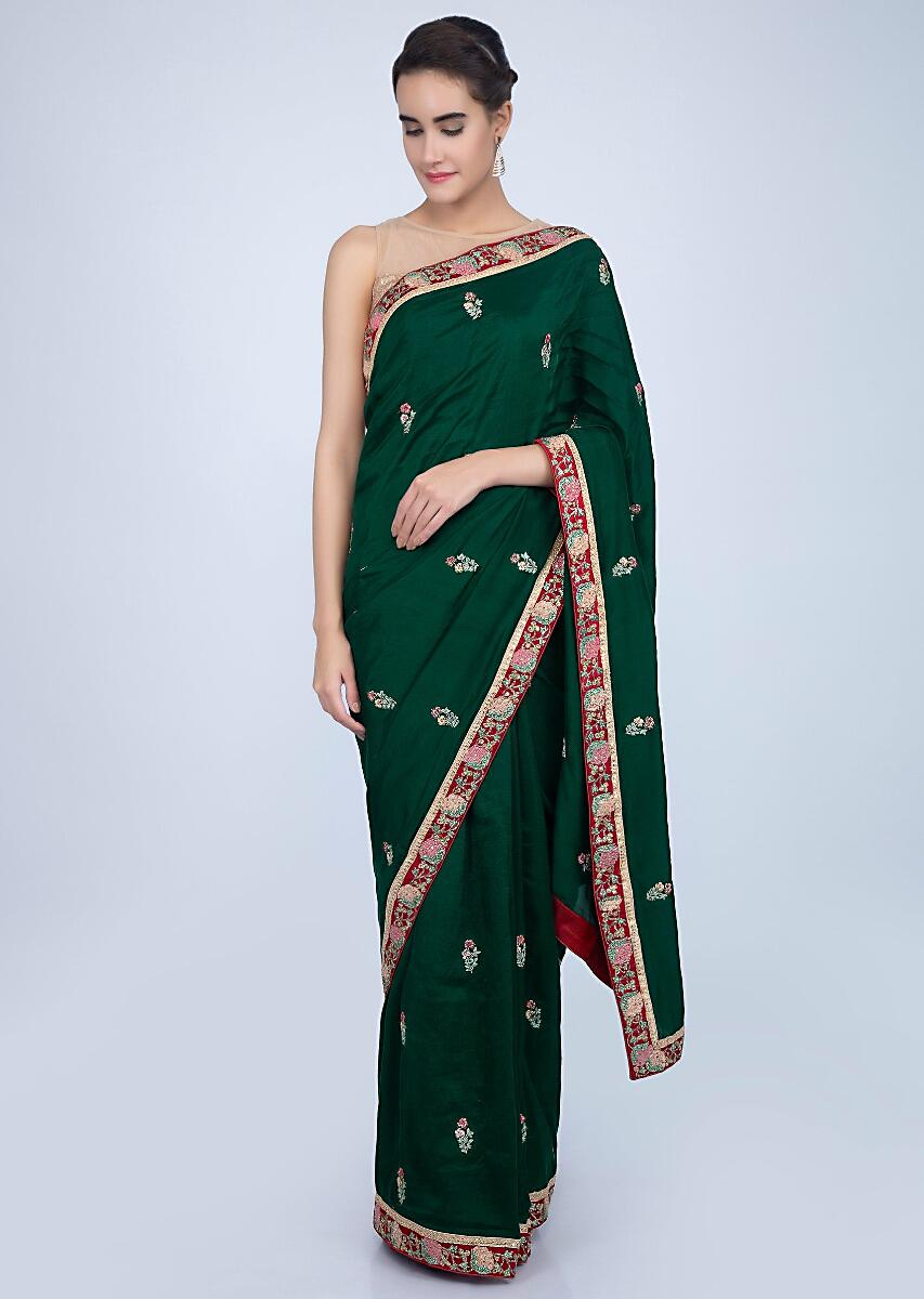 Emerald Green Saree In Dupion Silk With Embroidered Butti And Border Online - Kalki Fashion