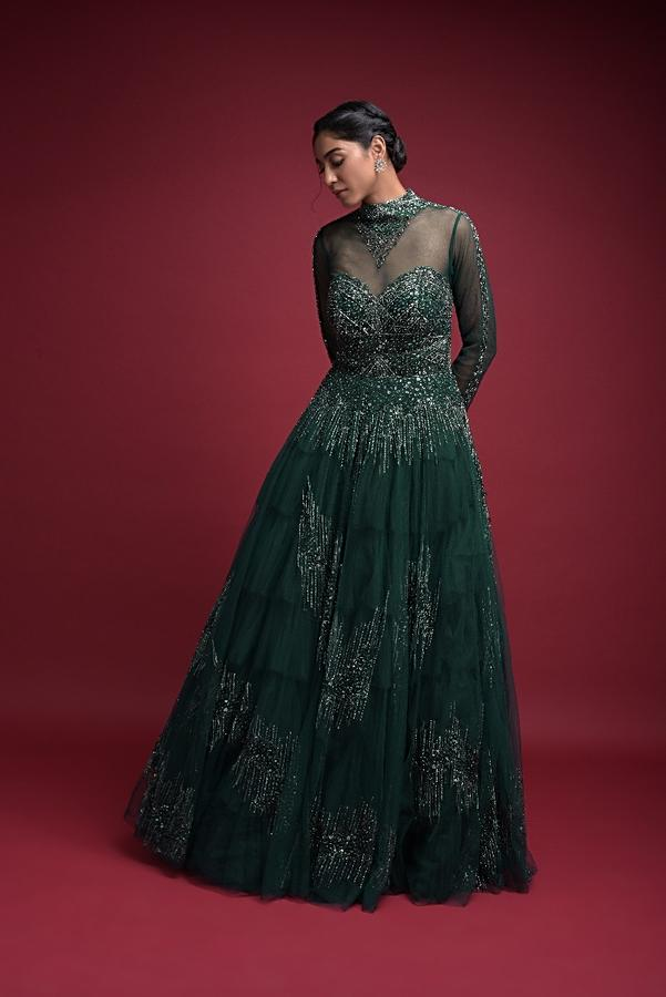 Emerald Green Evening Gown In Hand Embellished Net With Jeweled Illusion Neckline Online - Kalki Fashion