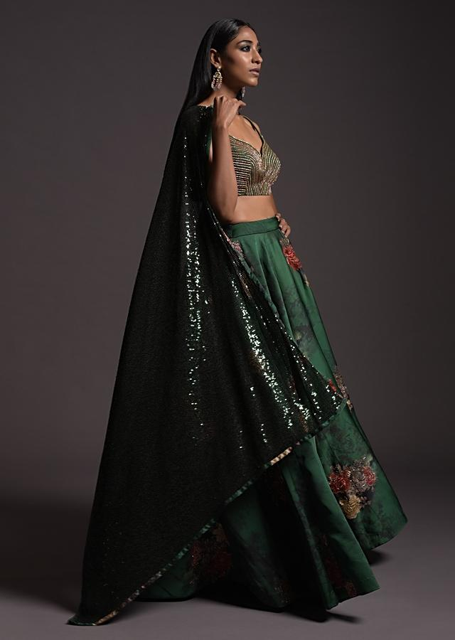 Emerald Green Floral Printed Skirt With A Cut Dana Embellished Crop Top And Fancy Sequins Dupatta Online - Kalki Fashion
