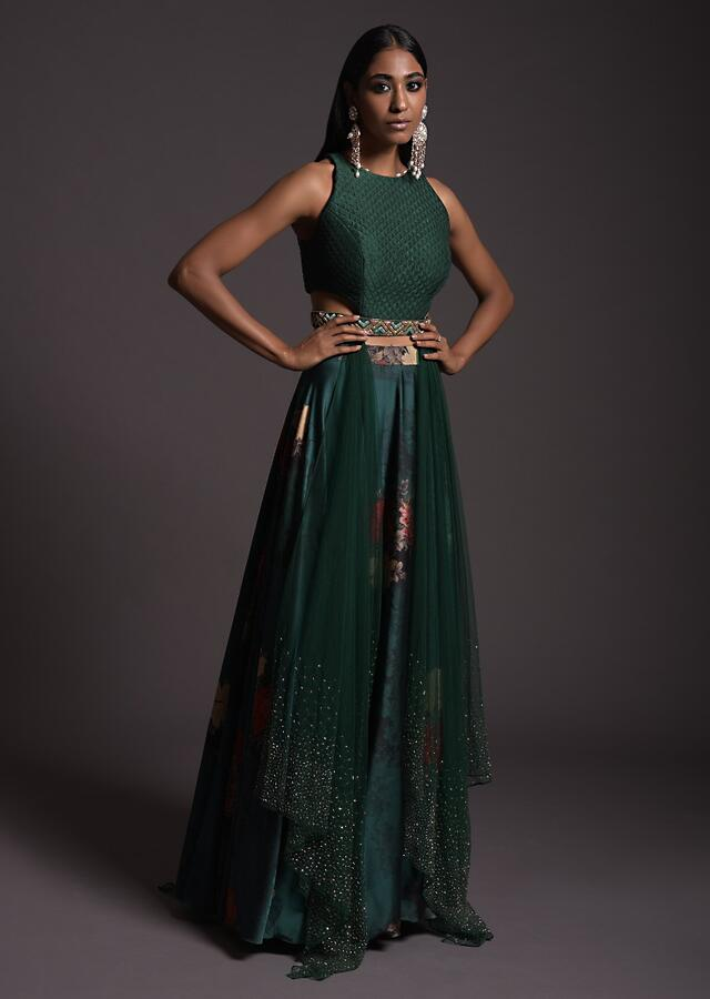 Emerald Green Floral Satin Skirt And A Quilted Crop Top With Embellished Belt And Attached Net Drapes Online - Kalki Fashion