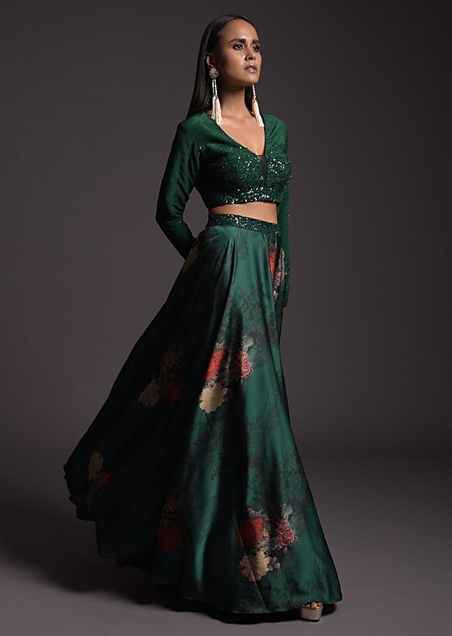 Emerald Green Floral Satin Skirt And Embroidered Crop Top With Gradient Sequins Work And Full Sleeves Online - Kalki Fashion