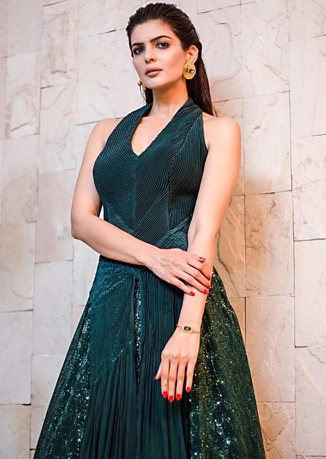 Helly Shah in Kalki Emerald Green Gown In Crepe And Net With Halter Neckline