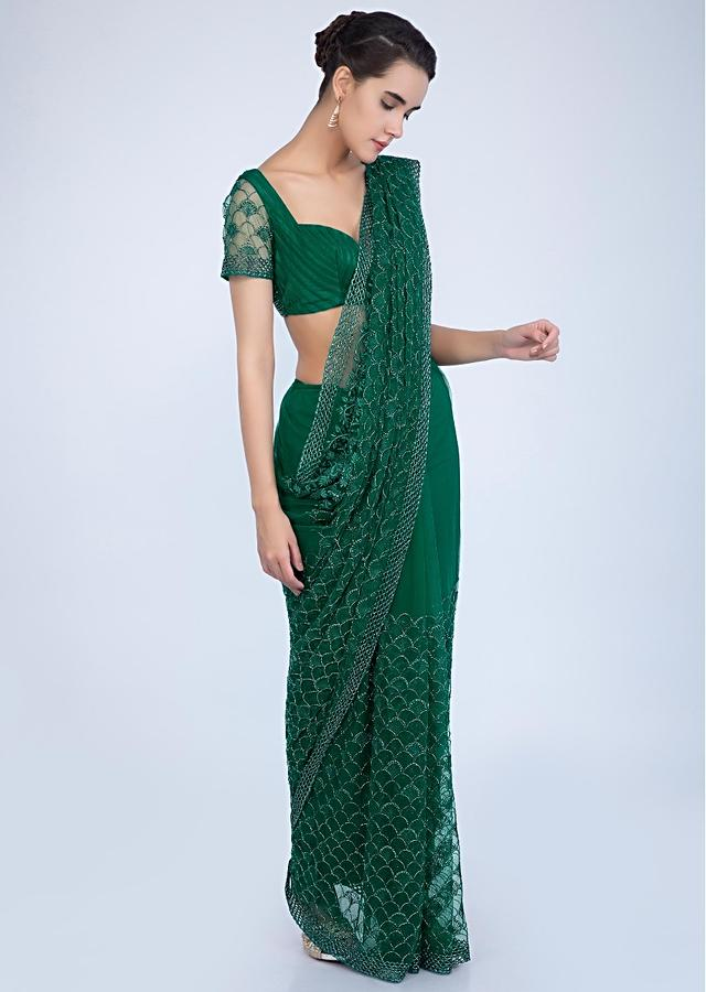 Emerald Green Saree In Hard Net With Heavy Jaal Embroidery Online - Kalki Fashion