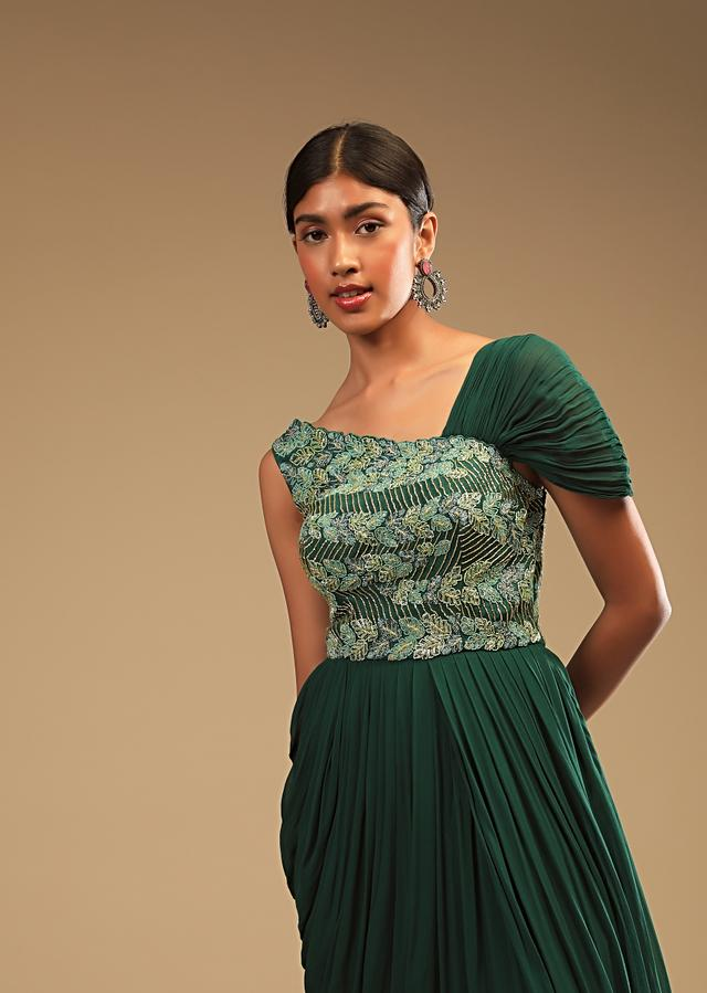 Emerald Green Indowestern Gown With A Hand Embroidered Bodice And A One Sided Cowl Drape Online - Kalki Fashion