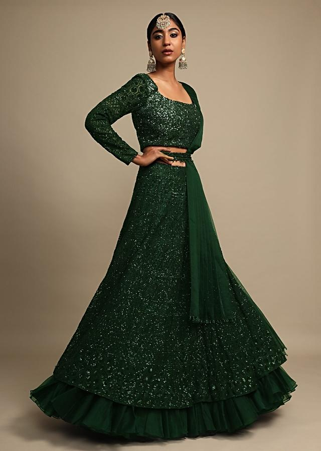 Emerald Green Lehenga Choli With Sequins Work And Organza Frill Online - Kalki Fashion