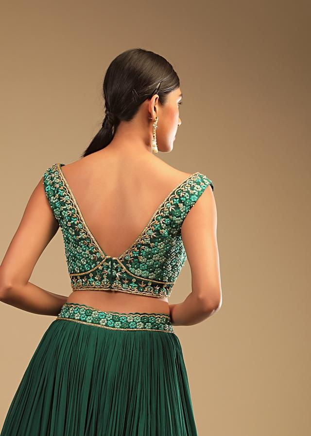 Emerald Green Lehenga In Georgette With A Plunging Neck Crop Top Featuring Floral Hand Work And Choker Dupatta Online - Kalki Fashion